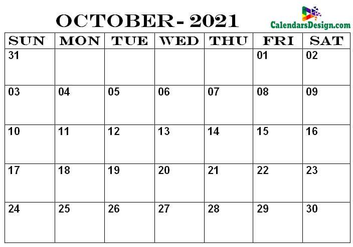 Calendar Printable October 2021