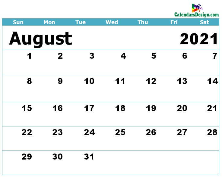 Calendar for August 2021 Excel to Print