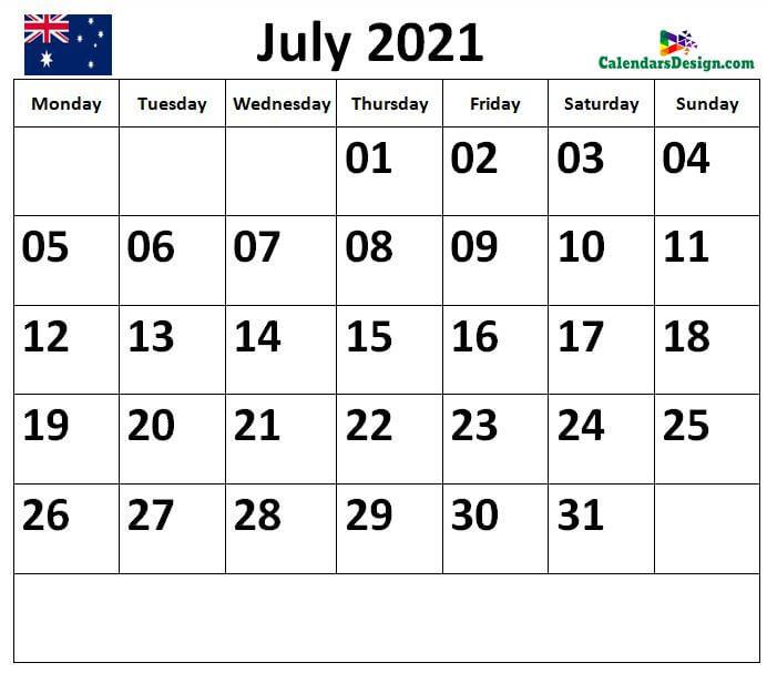 Calendar for July 2021 Australia
