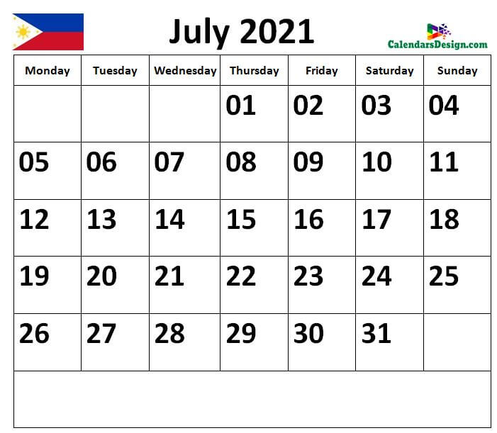 Calendar for July 2021 Philippines