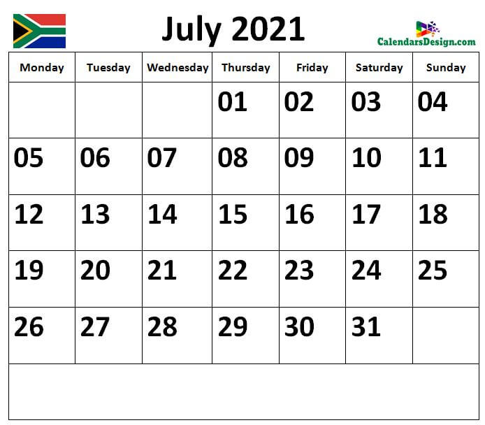 Calendar for July 2021 South Africa
