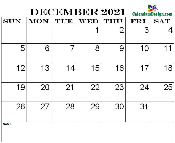 December 2021 printable calendar pdf
