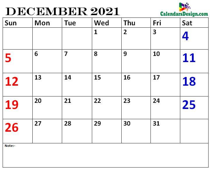 December calendar 2021 printable online