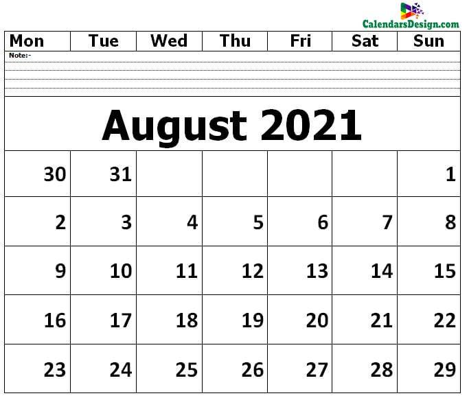 Editable August 2021 Calendar Blank Template