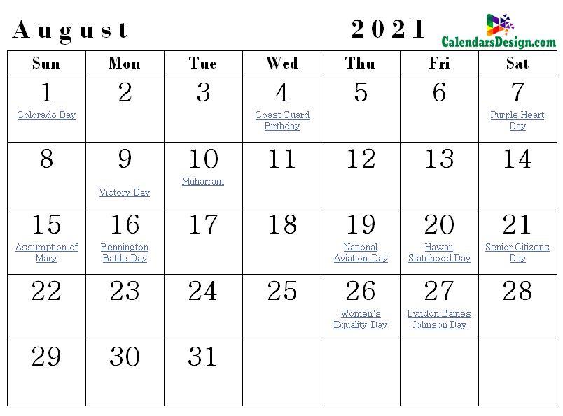 Holidays Calendar for August 2021