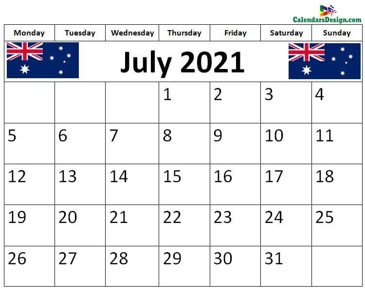 July 2021 Australia calendar