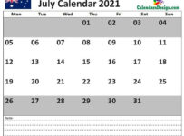 July 2021 Calendar Australia with Notes