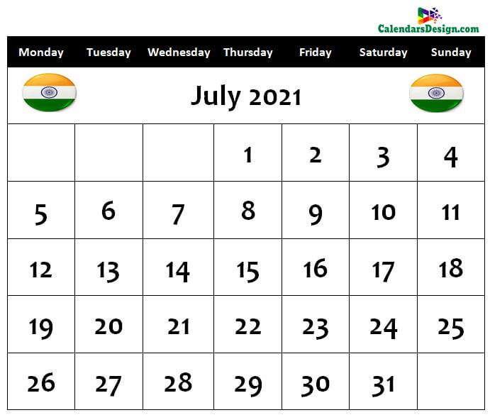 July 2021 Calendar India With Holidays