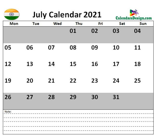 July 2021 Calendar India with Notes