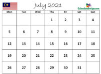 July 2021 Calendar Malaysia