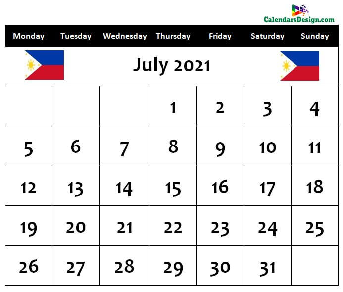 July 2021 Calendar Philippines with Holidays