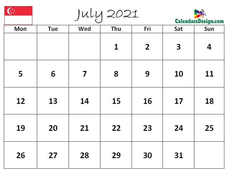 July 2021 Calendar Singapore