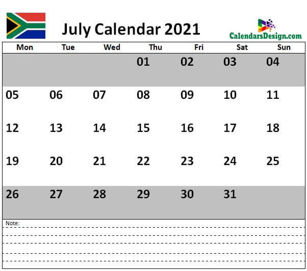 July 2021 Calendar South Africa with Notes