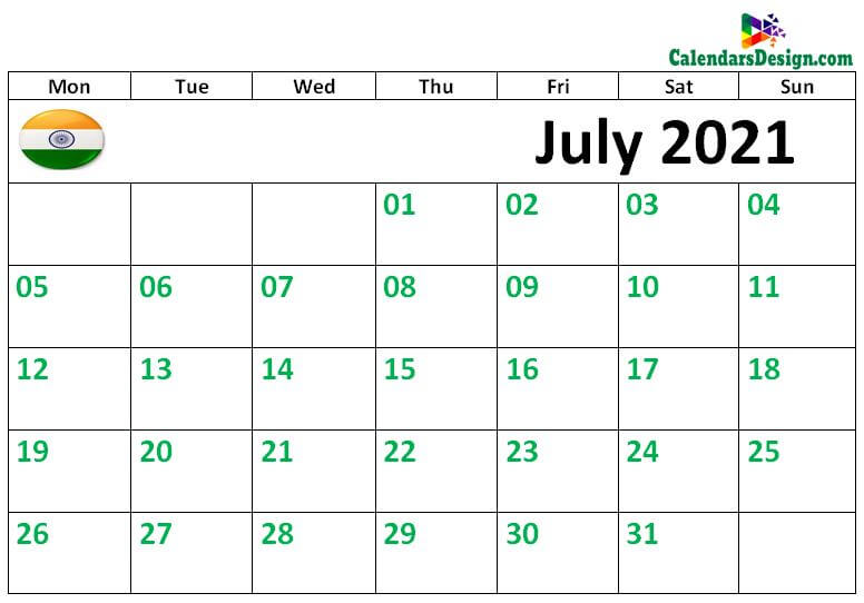 July 2021 Indian Calendar with Holidays