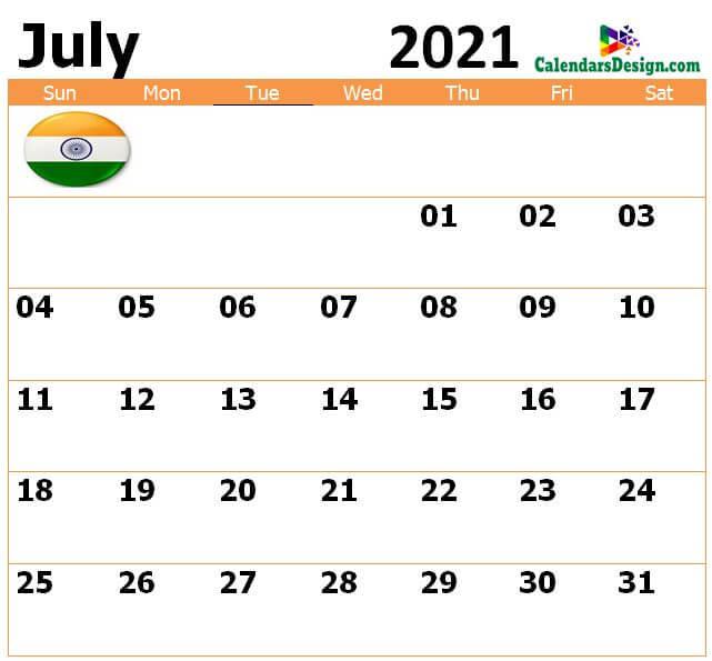 July 2021 Kal nirney Calendar