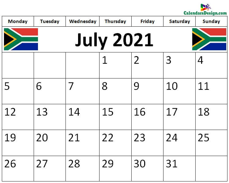 July 2021 South Africa calendar