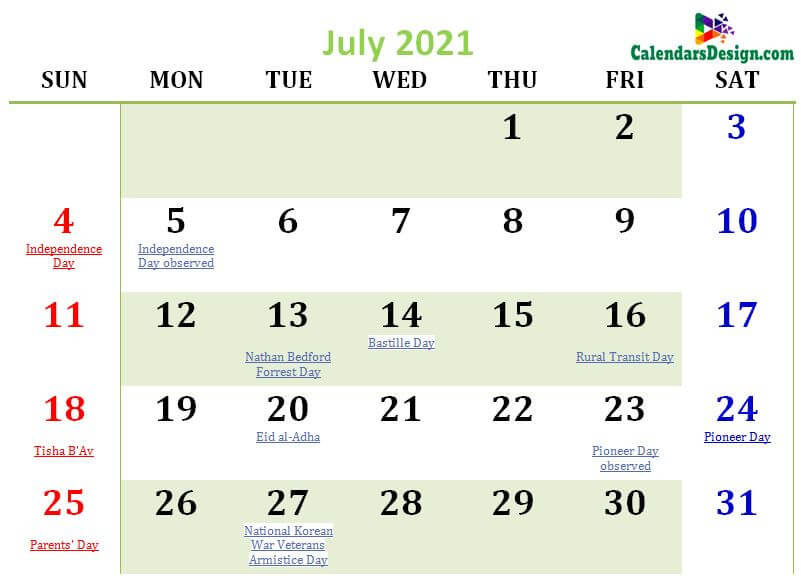 July 2021 calendar usa with holidays all countries