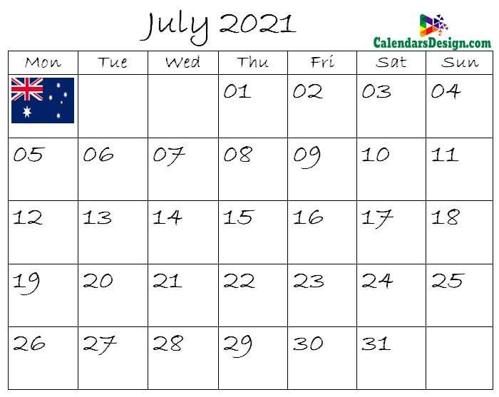 July Calendar 2021 Australia