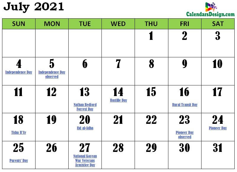 July Calendar 2021 India with Festivals