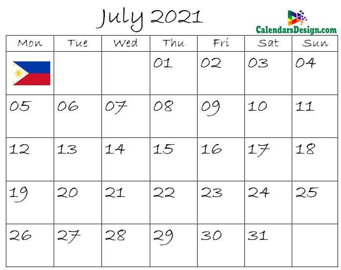 July Calendar 2021 Philippines