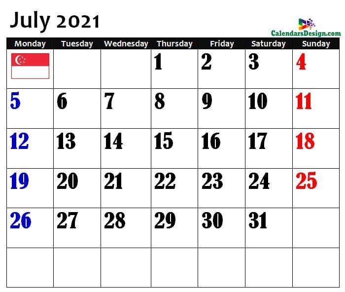 July Singapore Calendar 2021