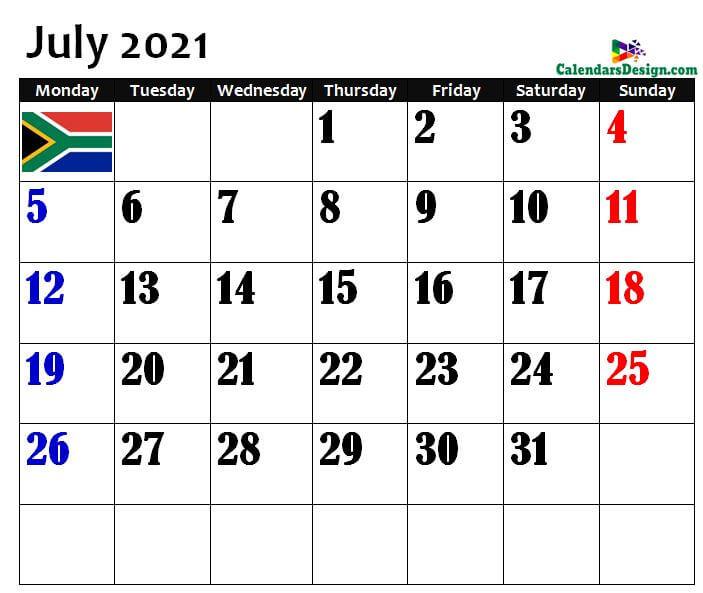 July South Africa Calendar 2021