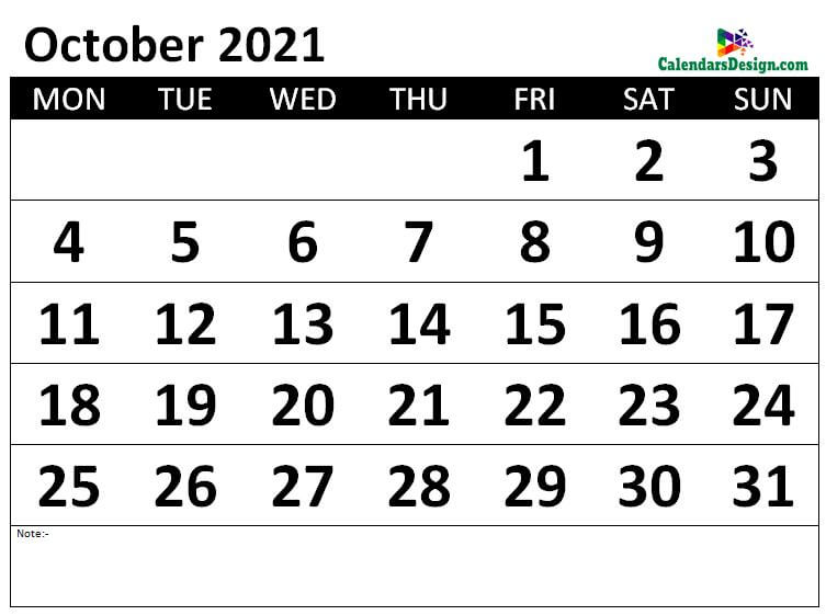 Monthly October 2021 calendar free
