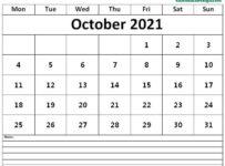 Oct 2021 Calendar