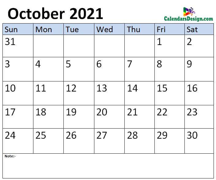 Oct 2021 calendar template