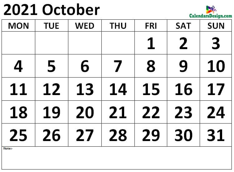 October 2021 calendar Download