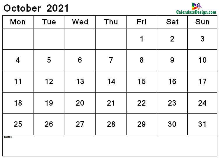 October 2021 calendar png