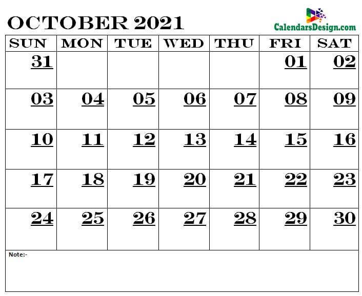 October Calendar 2021 Printable