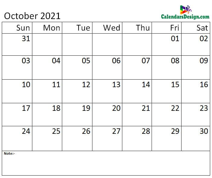 October calendar 2021 monthly template