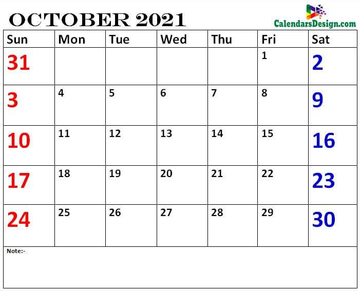 October calendar 2021 printable online