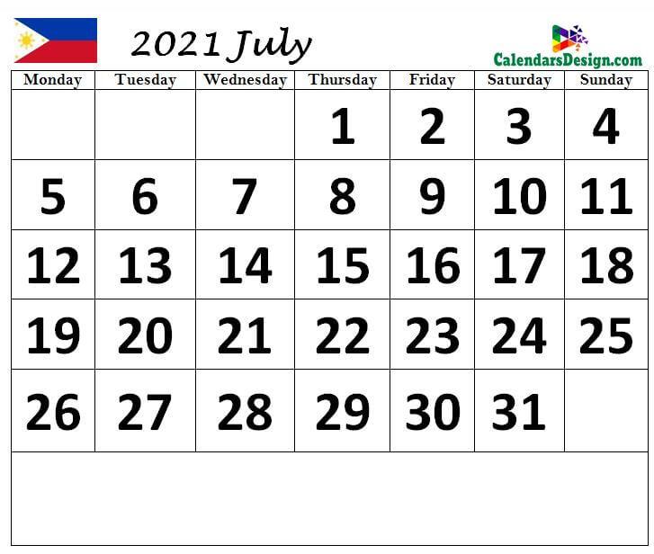 Philippines July 2021 calendar