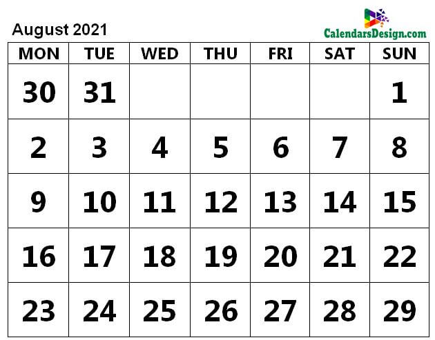 Print August 2021 Calendar in Page Format