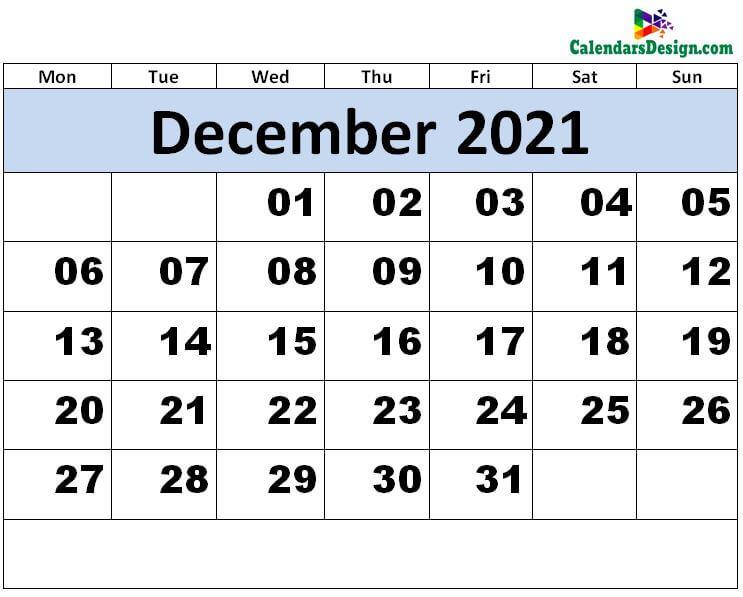 Print December 2021 calendar for free