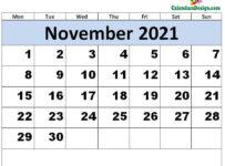 Print November 2021 calendar for free