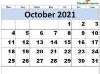 Print October 2021 calendar for free