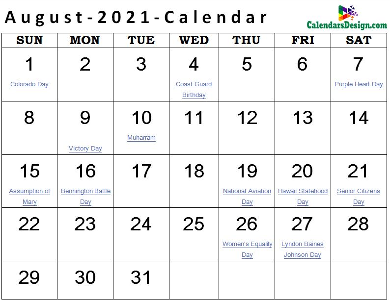 Printable August 2021 Holidays With Notes