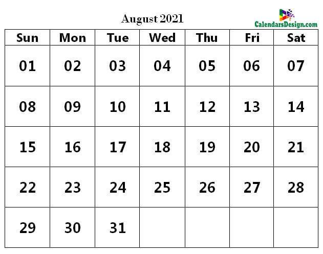Printable Calendar for August 2021 PDF
