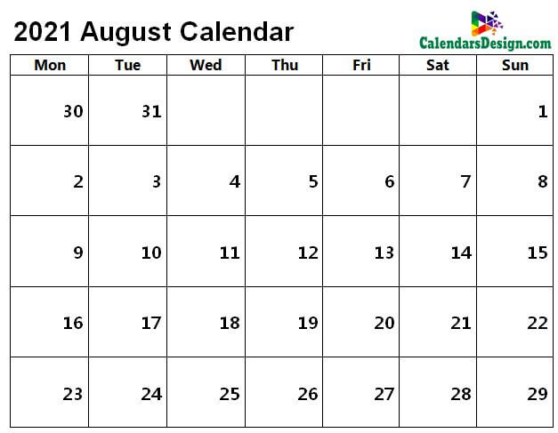 Printable Calendar for August 2021 Page