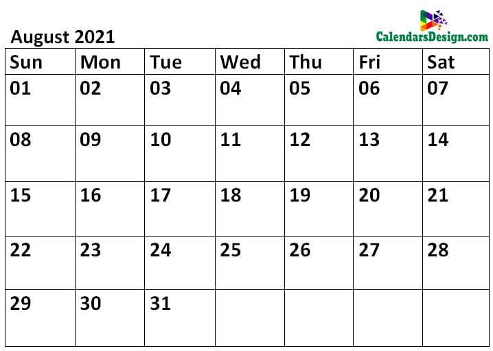 Printable Calendar for August 2021 Templates