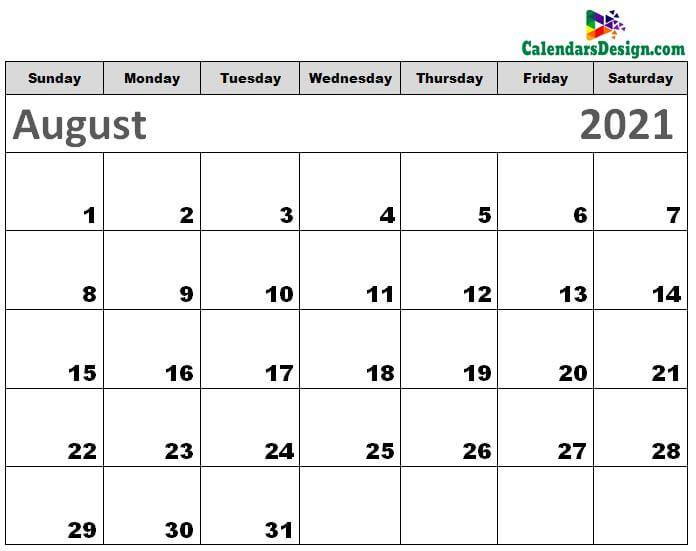 Printable Calendar for August 2021