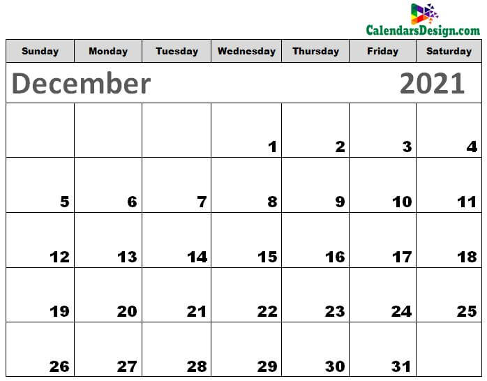 Printable Calendar for December 2021