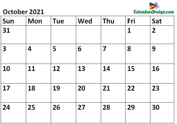 Printable Calendar for October 2021 Templates