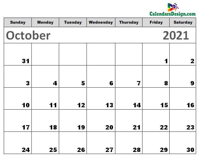 Printable Calendar for October 2021