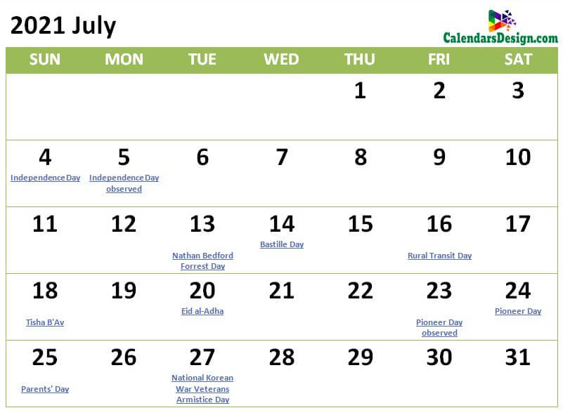 Printable July 2021 Holidays With Notes