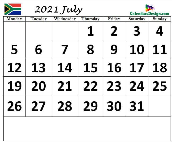 South Africa September 2021 calendar