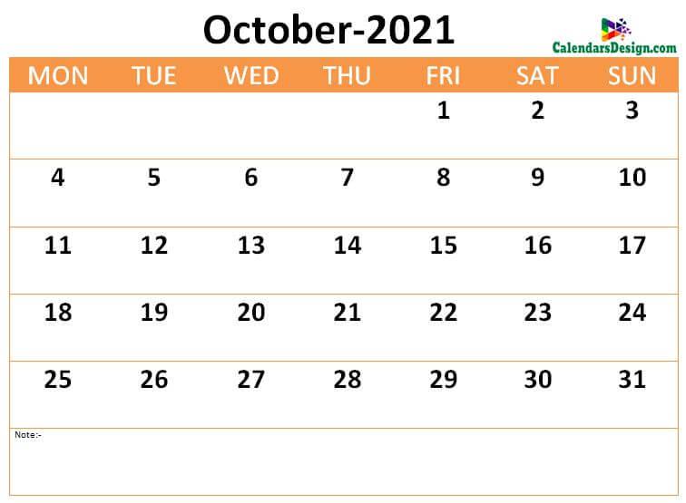 download October 2021 calendar online